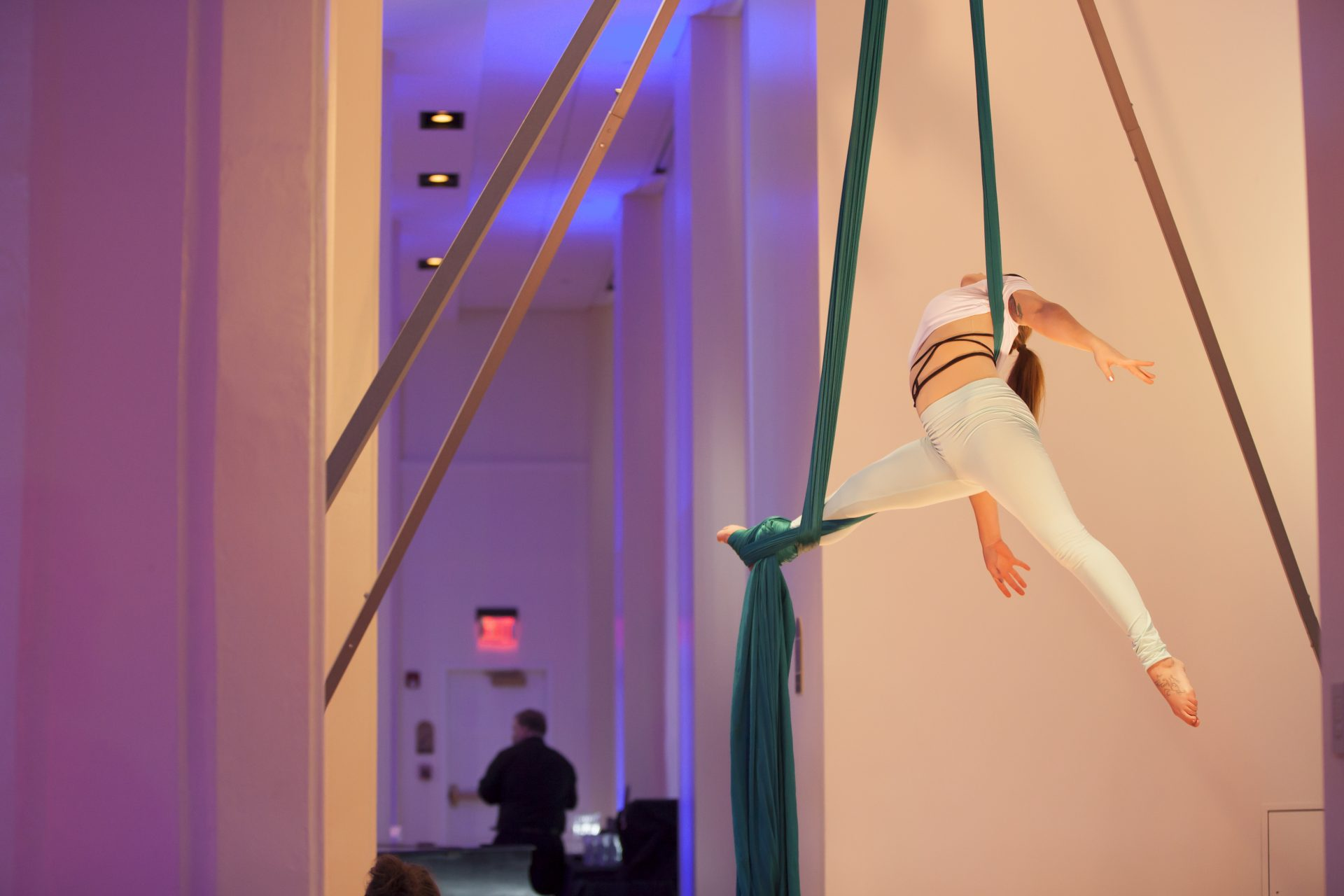 An aerial acrobat performs at an event planned by Bleu Events