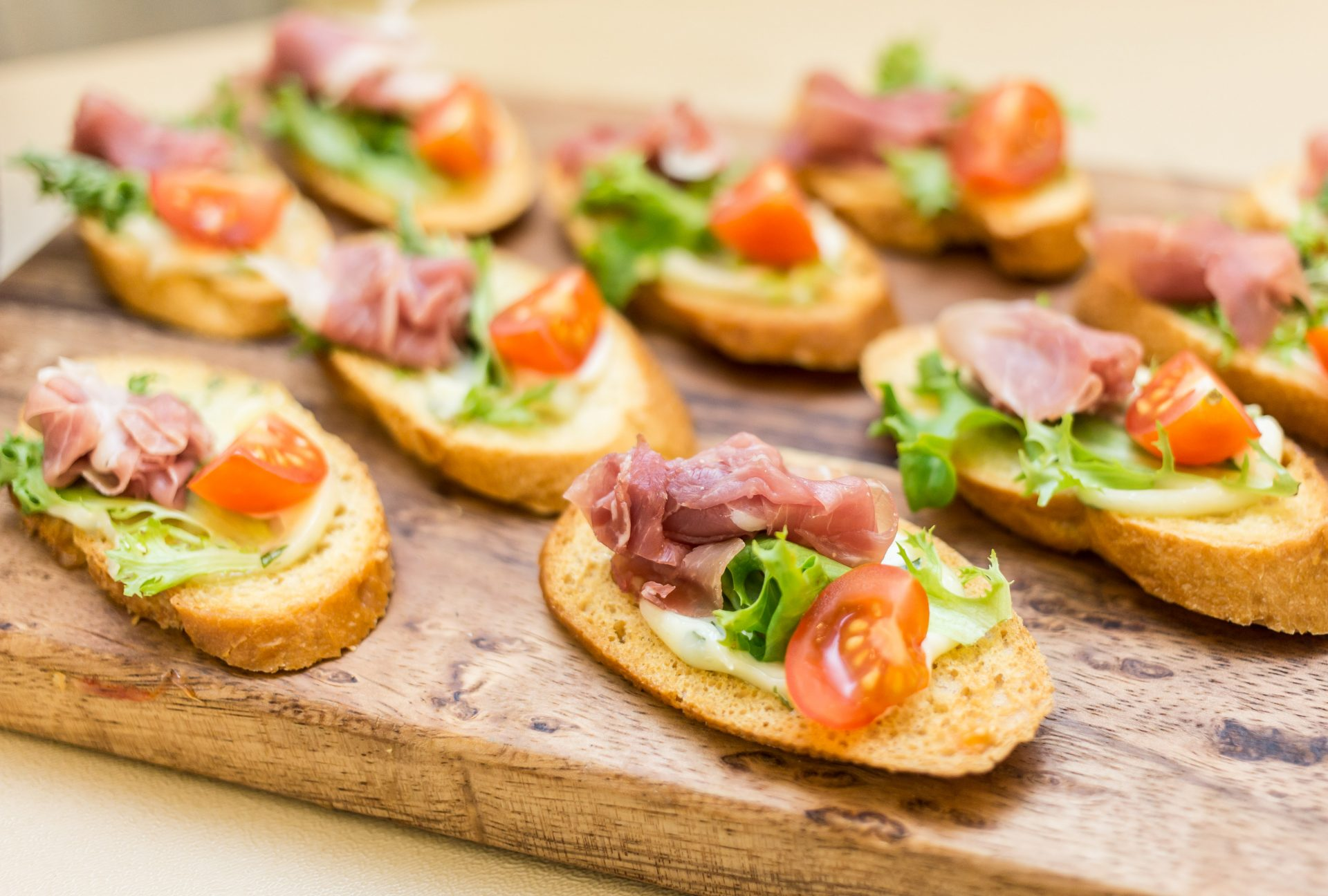 Tray of brushetta appetizers by Bleu Events