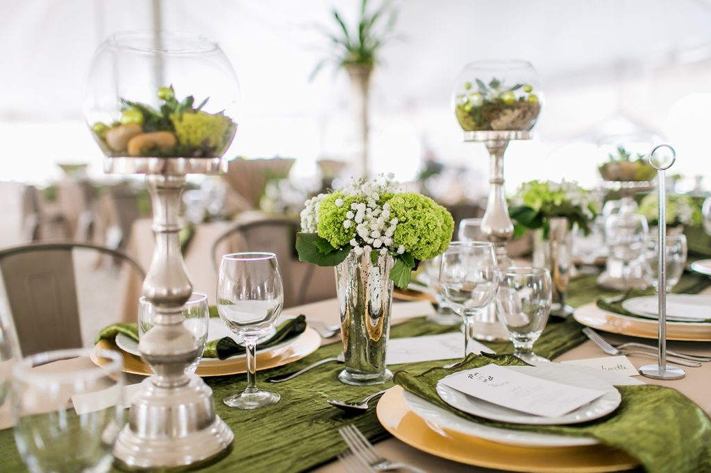Moss green table setup at an event by Bleu Events at Serenity Valley Winery