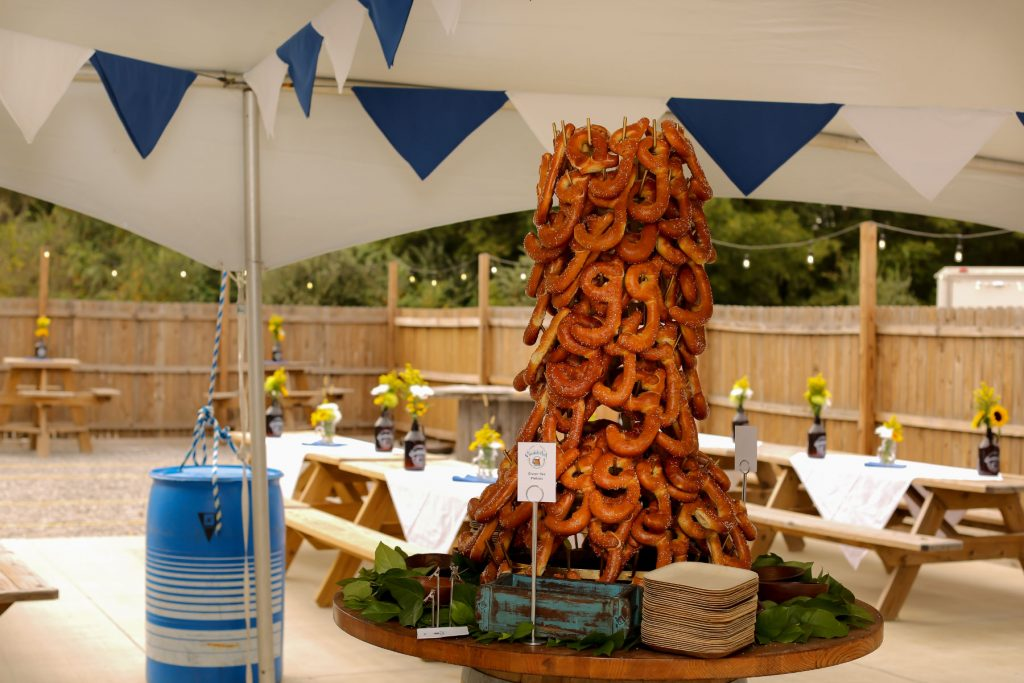 Bleu events catering pretzel display