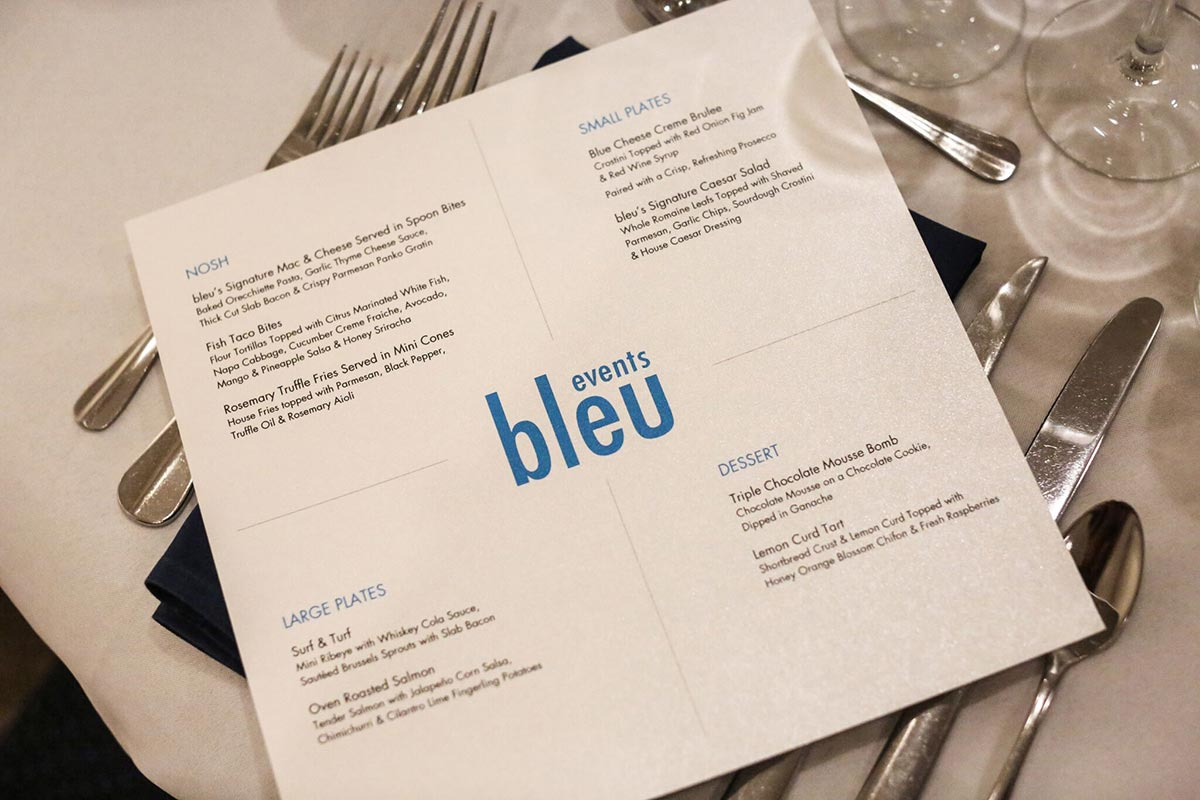 Bleu events menu